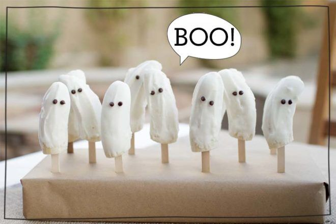 spooktacular Halloween lunch box snacks ghost bananas