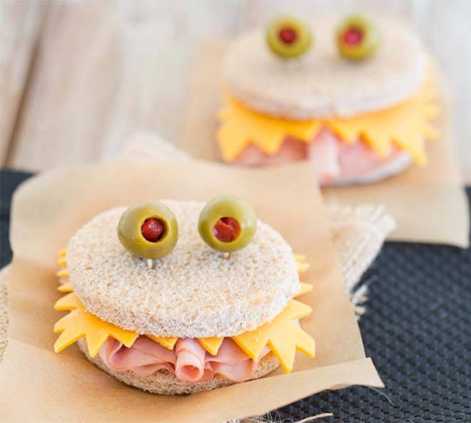 spooktacular Halloween lunch box snacks for creepy kids monster sandwiches