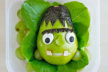 Pear Monster halloween lunchbox treat idea