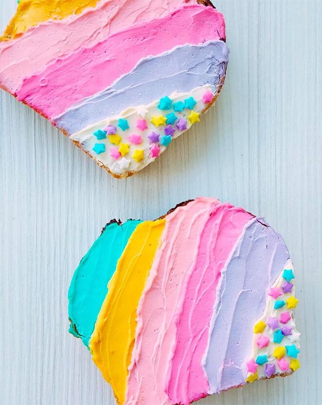coloured yogurt unicorn food toast delights