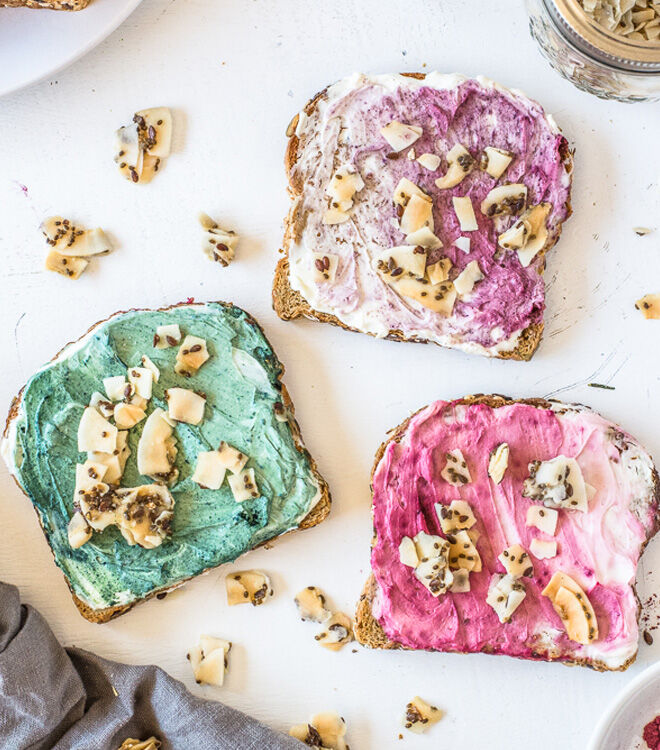 cream cheese toast for unicorn food lovers