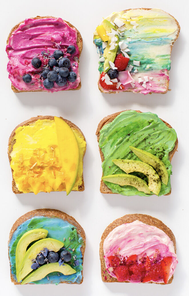 mouthwatering unicorn inspired breakfast toast