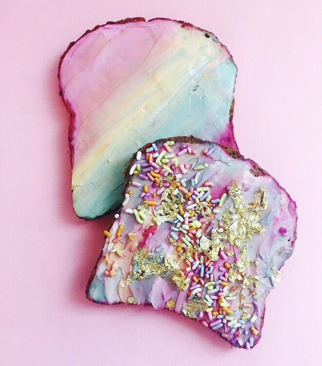 healthy unicorn toast with sprinkles