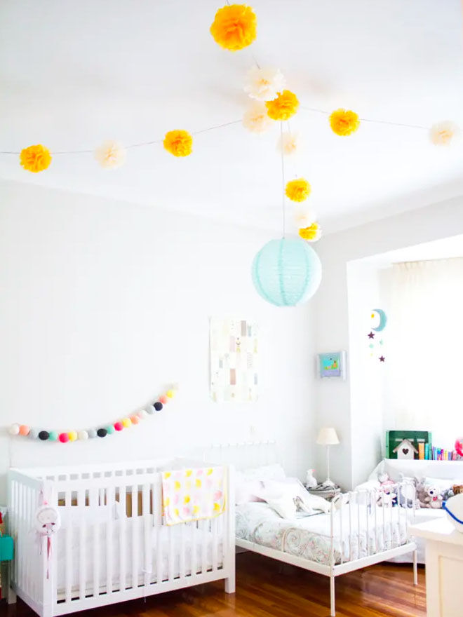 Colourful baby toddler shared bedroom