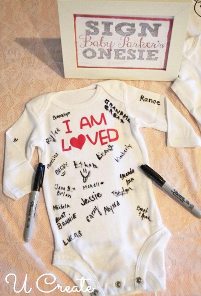 Baby Shower baby onesie signing