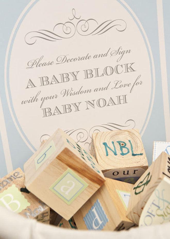 Baby blocks baby shower guest book
