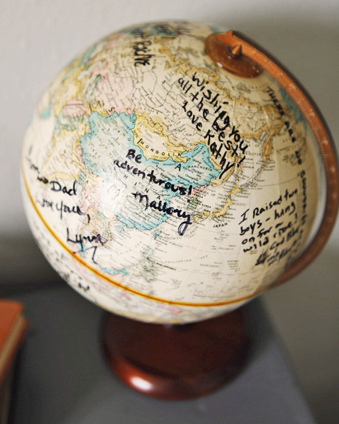 Baby shower guestbook: sign a world globe or map