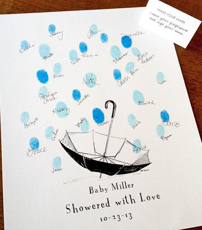 Baby shower thumbprint guestbook: finger print rain drop card