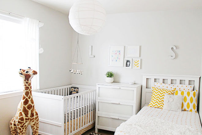 Grey and yellow baby toddler shared bedroomrey and yellow baby toddler shared bedroom