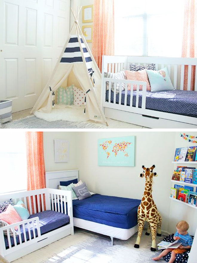 Shared baby toddler bedroom with single bed and toddler bed