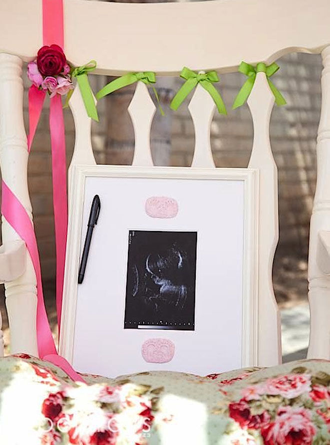 Ultrasound signing baby shower guest book