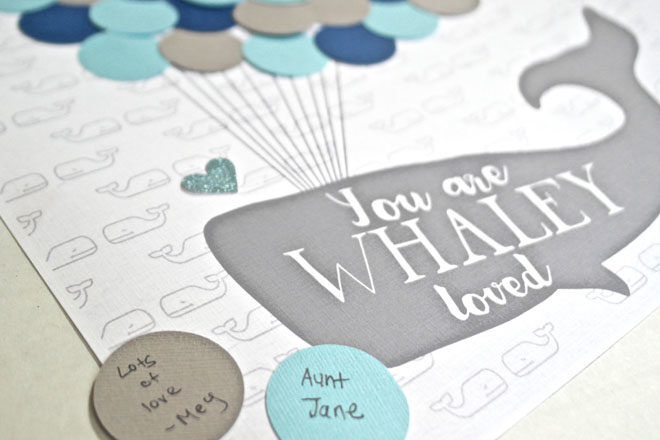 baby shower guest book ideas: whale bubbles wall art