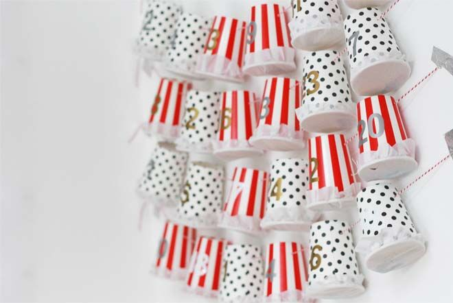 DIY Advent calendars craft paper cups