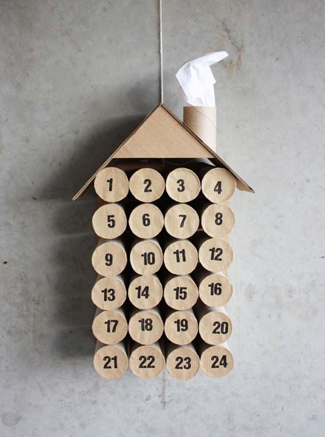 DIY Advent calendars toilet roll house