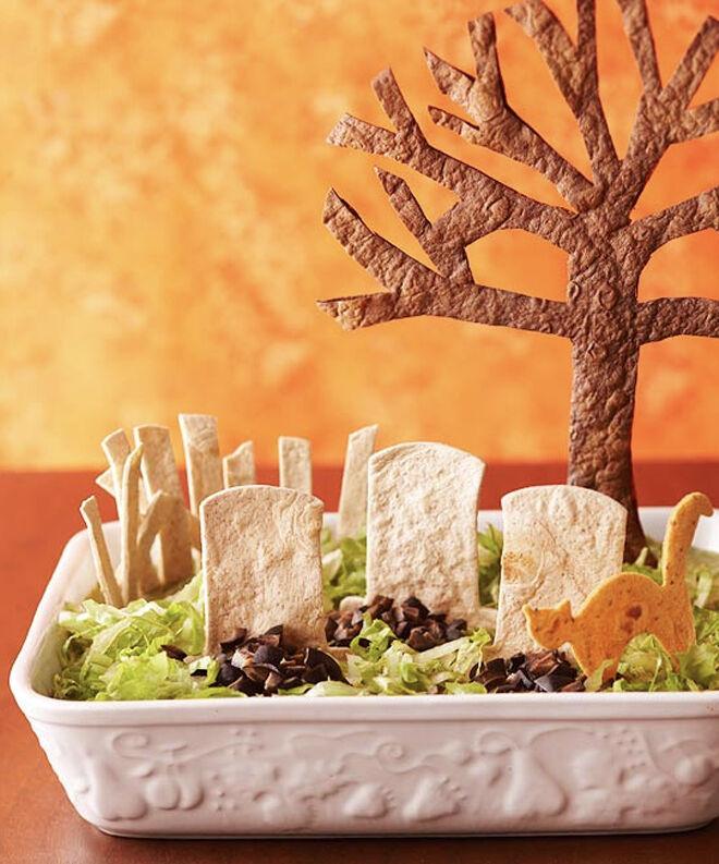 Spooky Halloween dinner ideas, Tombstone Taco Dip