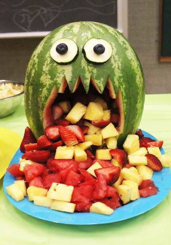 Spooky Halloween dinner ideas, Monster Melon