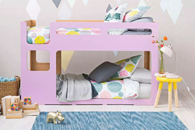 Domayne kids bunk bed pink