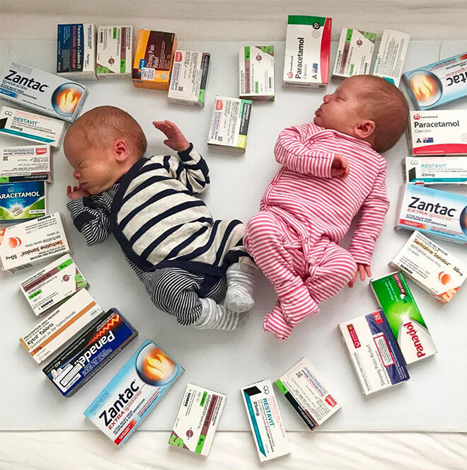 Twins surrounded by morning sickness medication