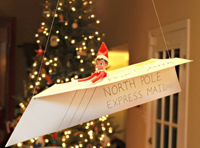 Elf on the Shelf arrival ideas paper plane