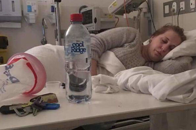 Samantha McCall in hospital with severe morning sickness