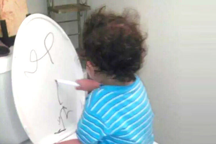 toilet training tip - draw on back of toilet seat