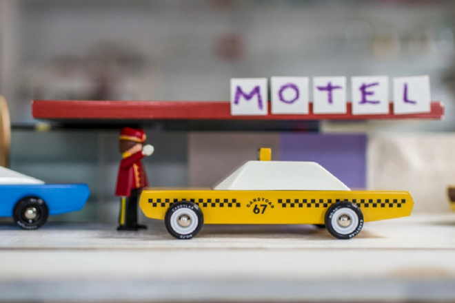 Taxi and driver Candylab wooden toy cars