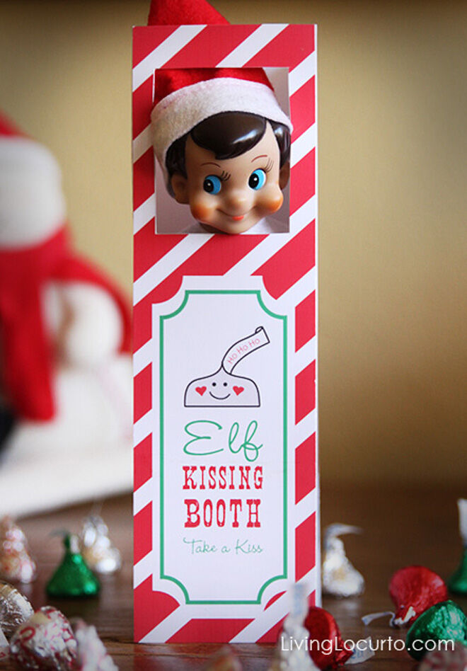 Printable kissing booth for Christmas Elf on the Shelf