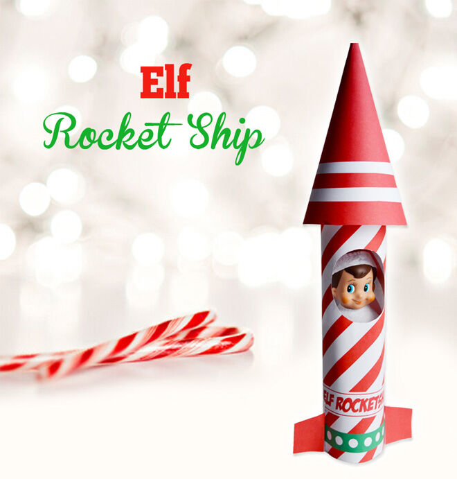 Rocket ship printable for Elf on the Shelf