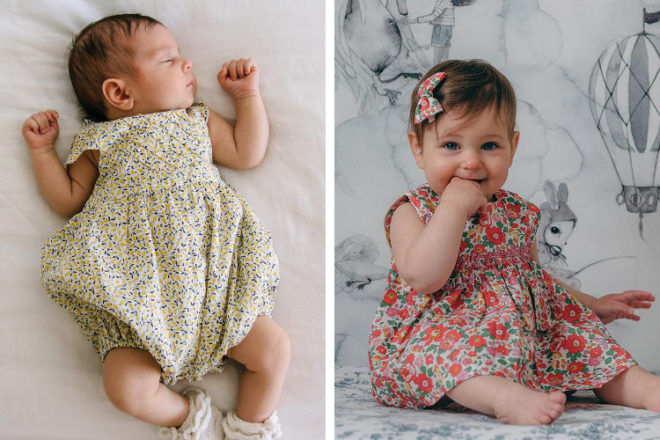Liberty print romper and dress by Pretty Wild