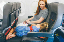 Plane Pals toddler sleeping on plave