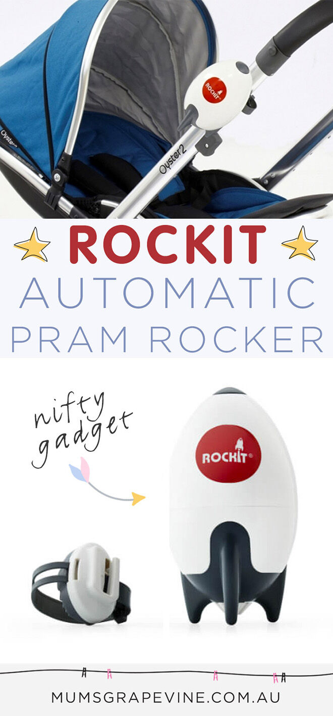 Rockit, a hands-free, automatic pram rocker, that will rock the pram for you, with the press of a button. It fits on any pram, and has just landed in Australia.