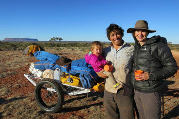 Family treks across outback Australia with toddler