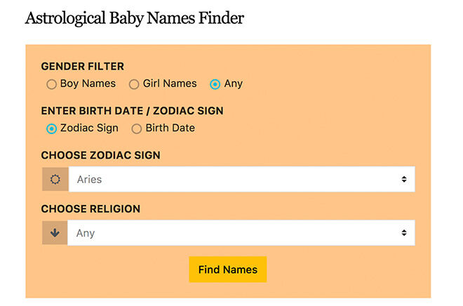 Pic a baby name on star sign with this Astrological baby name finder app