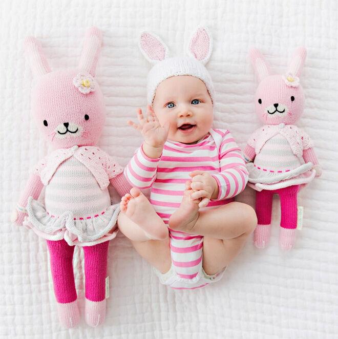 cuddle + kind pink bunny doll