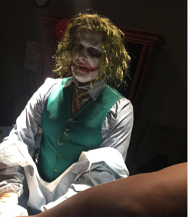 Halloween baby delivered by The Joker