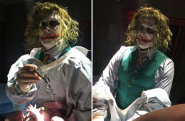 Halloween baby delivered by Dr Joker