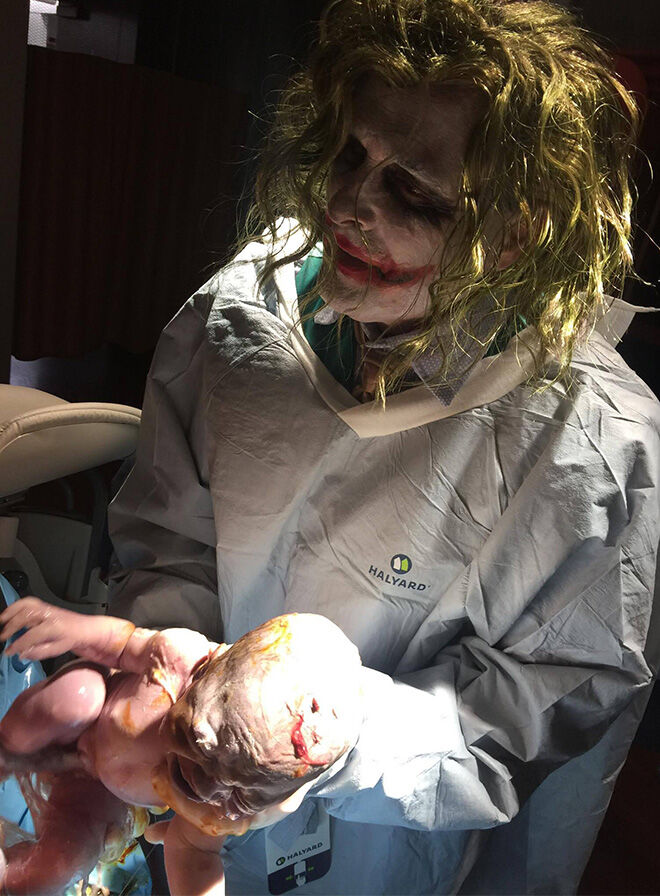 Doctor dressed as The Joker delivers baby on Halloween