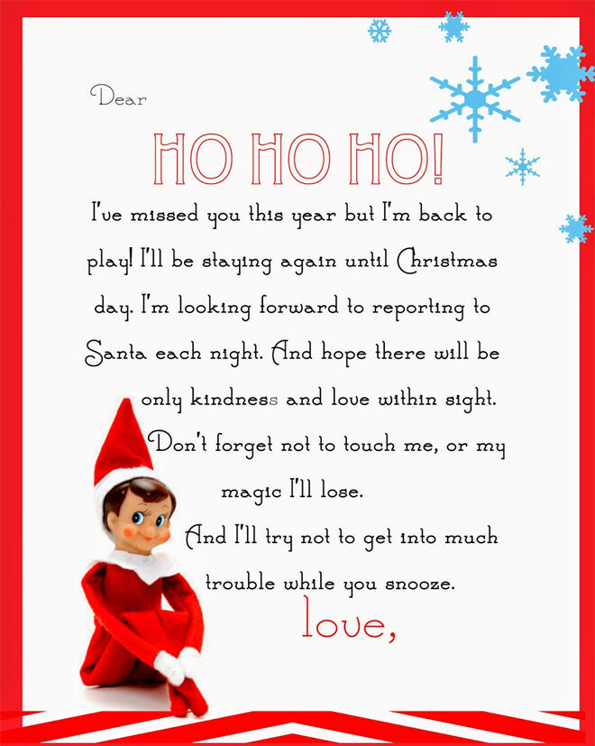Elf on the Shelf arrival letter printable