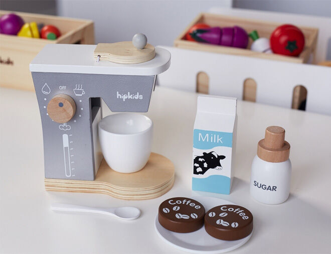 Hip Kids pretend play kitchen essentials wooden coffee machine with milk and sugar