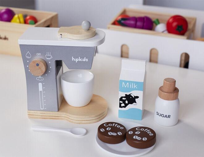 Hip Kids pretend play kitchen essentials wooden coffee machine with milk and sugar