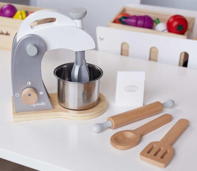 Hip Kids pretend play kitchen essentials wooden mixer and utensil set