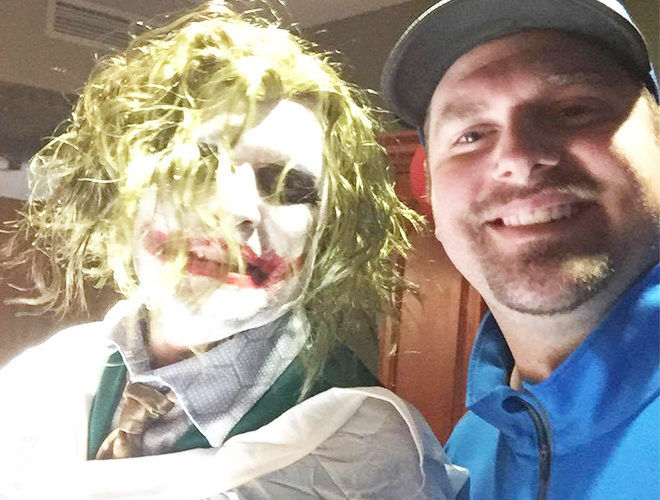 Justin Selph with doctor dressed as Joker delivered baby