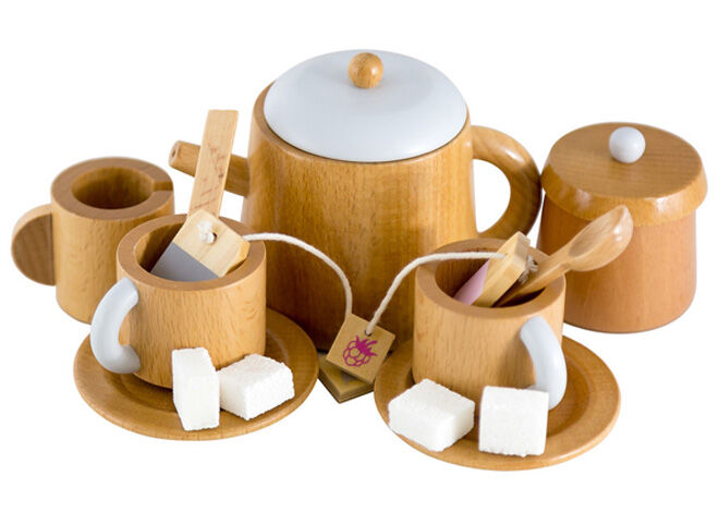 Make me iconic pretent play kitchen essentials wooden tea set