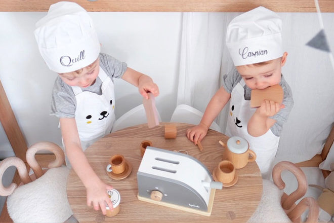 Wooden toy pretend play kitchen essentials for mini chefs