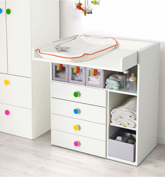 Ikea Stuva change table with storage for baby