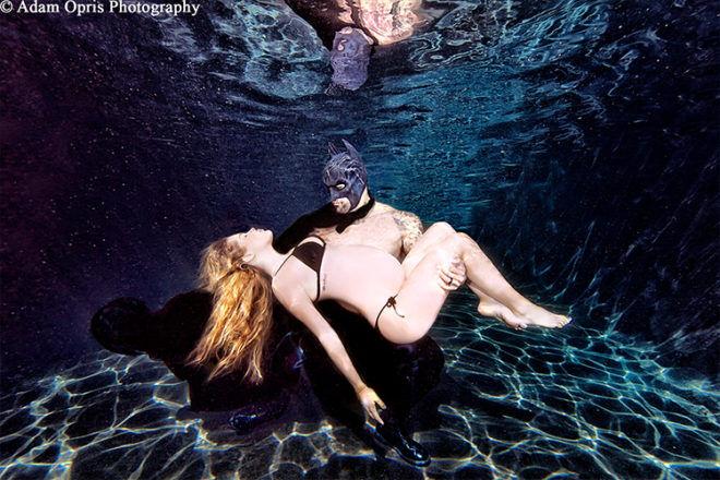 Underwater maternity photo Batman