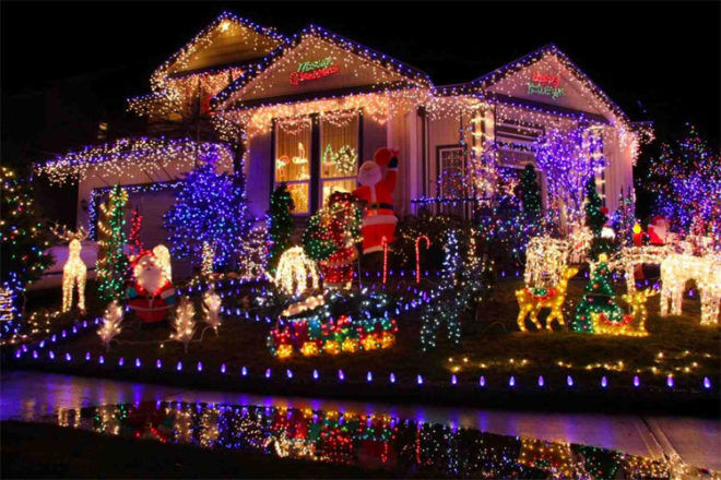 Christmas Lights on house in street