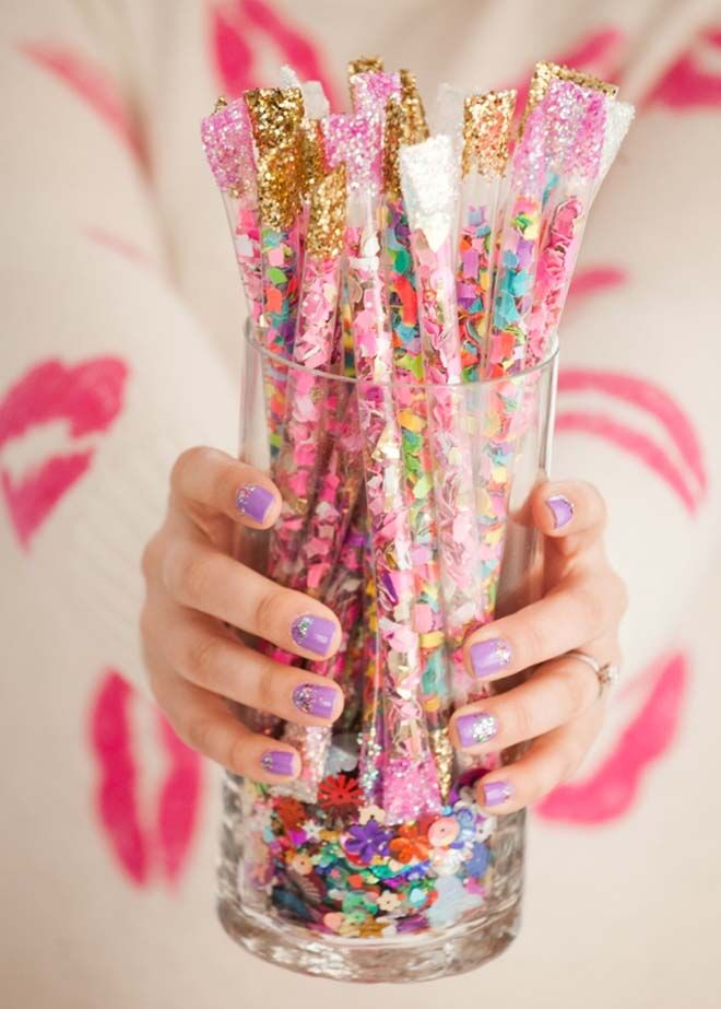 Make your own confetti sticks for new year's eve