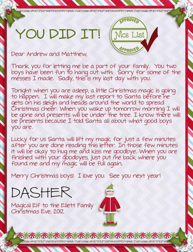 Elf goodbye letter lifting the magic