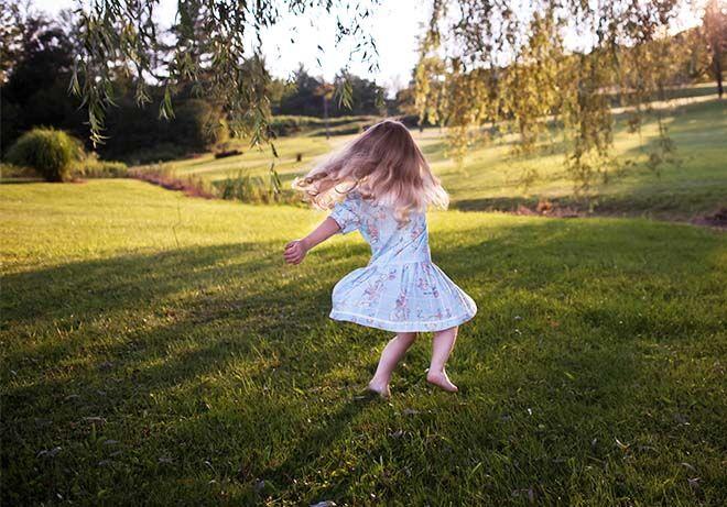 Girl dancing outside